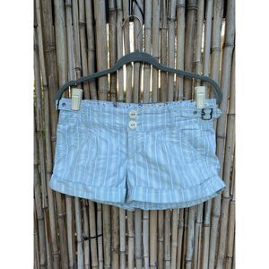 Guess Women's Stripped Blue Cuffed hem Shorts 28